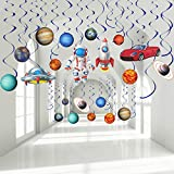 Outer Space Party Hanging Swirls Decorations, Blue Solar System Planet Party UFO Rocket Astronaut Sign Foil Swirls Ceiling Decoration for Kids Boys Space Birthday Party Decorations Supplies, 30 Pieces