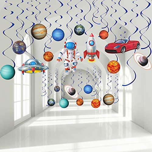 Decoraciones de Remolinos Colgantes de Fiesta de Espacio Exterior, Remolinos de Lámina de Letrero Planeta Azul Sistema Solar Cohete UFO Astronauta de techo para Niños Espacio Cumpleaños, 30 Piezas