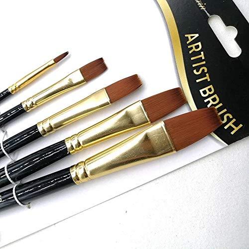 Künstlerpinselset,5 Pcs Künstler Pinsel Set Nylon Hair Paint Brush Set für Künstler Aquarell Acryl Ölmalerei-Flat Peak