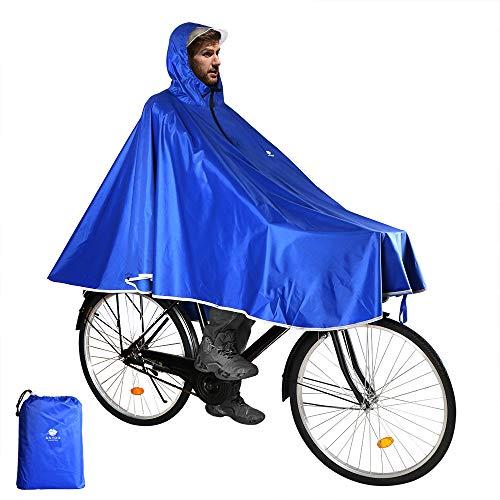 Anyoo Wasserdicht Radfahren Regen Poncho Portable Leichte Regenjacke Mit Kapuze Fahrrad Fahrrad Compact Regen Cape Wiederverwendbare Unisex für Backpacking Camping Outdoors,Einheitsgröße,Blau