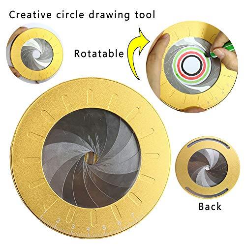 Kreiszeichen-Werkzeug, Kreis-Vorlage, Kreis-Zeichen-Werkzeug, 360 Grad, große Kunst, Metall, Edelstahl, Kreis-Vorlage, verstellbares Mess-Lineal, gold