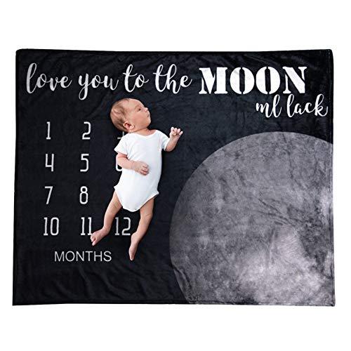 Manta de Bebé de Hitos 100X75cm Manta de Crecimiento de La Edad Unisex Franela Infantil Sesión de Fotos Props Telón de Fondo Luna Y La Vía Lechosa Recién Nacido Niño Niña Regalo