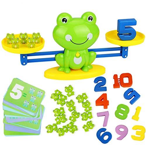 HOWADE Rana Equilibrio Juego de matemáticas, Rana Balanza Montessori Educación Madre Juguetes Contable Digital para Niños matemáticas básicas de Aprendizaje