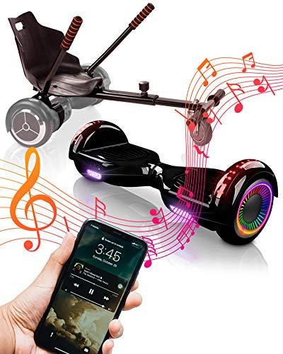 ACBK Bluetooth UL2272 Hoverboard + Silla Kart, Juventud Unisex, Negro, Rueda LED 6.5
