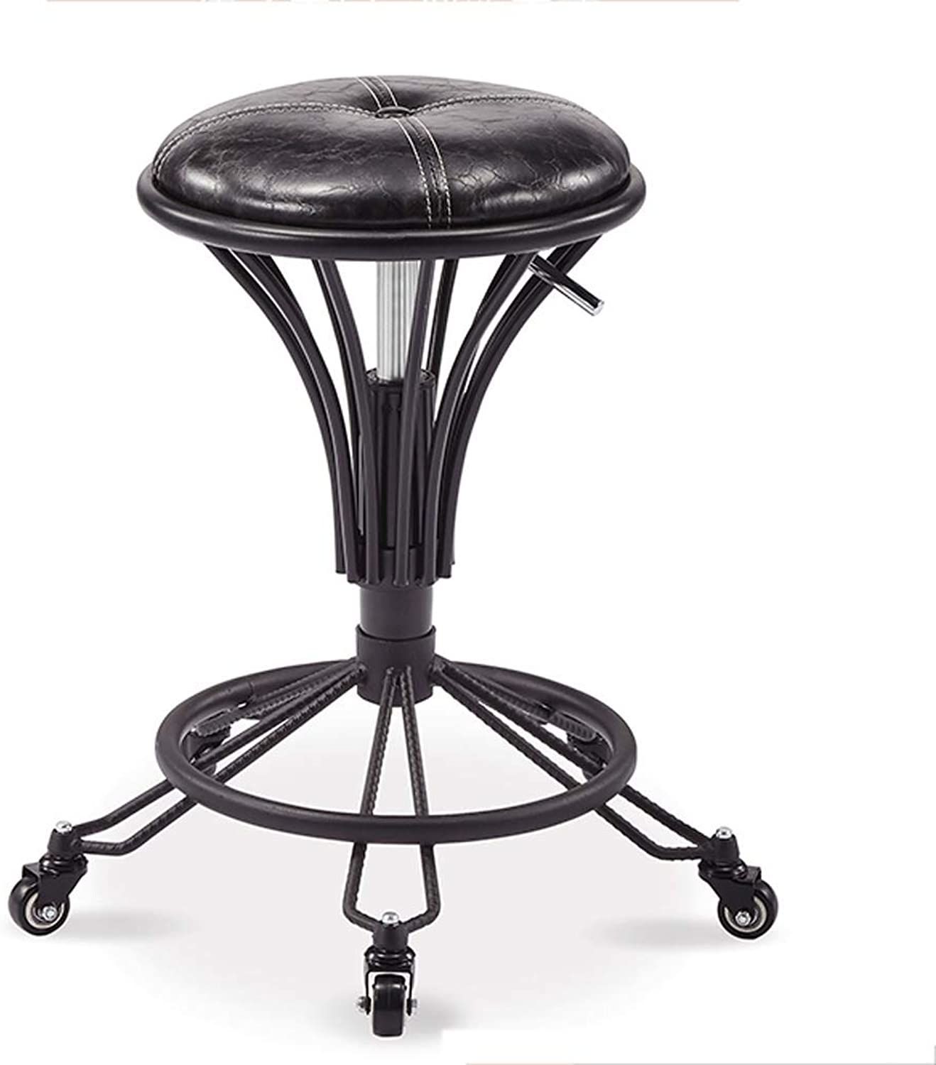 Beauty Stool Barber Shop Chair Hairdressing Stool redating Lifting Round Stool Work Bench Nail Salon Stool Pulley (color   Black)