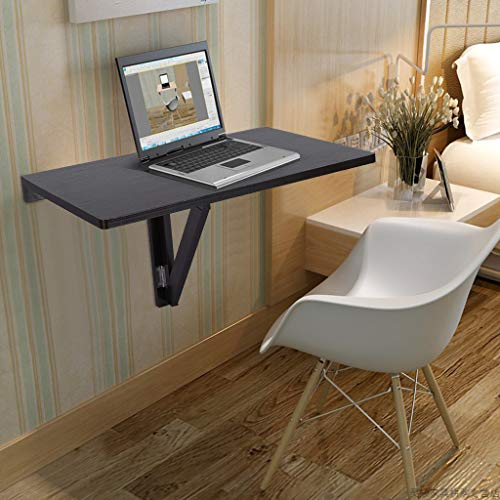 OKBOP Wall Mounted Table Folding Hanging Shelf Fold Down, Study Writing Laptop Desk Workstation, Wood White Space Saving Multifunction Drop Leaf Tables for Bedroom Bathroom Kitchen (Black)