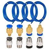 LUTER 4 pezzi PTFE Teflon Tubo(1.5 m) con 4 pezzi Raccordo rapido PC4-M6 e 4 pezzi Raccordi pneumatici dritti PC4-M10 Spingere per stampante 3D Filo 1.75mm
