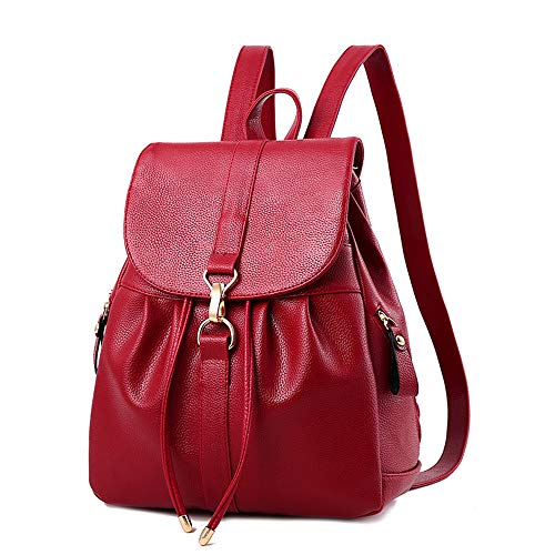 Mini Babala Women's Vintage PU Leather Backpack Handbags, Faux Leather Casual Daypack Travel Backpack, Small School Bag for Teenage Girl, 07weinrot, Einheitsgröße