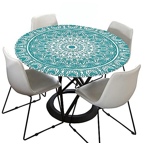 Morbuy Mandala Tovaglia Rotondo Antimacchia con Bordo Elastico, 3D Tovaglie da Tavola in Poliestere Impermeabile Lavabile per Cucina Giardino Decorazione (Turchese,Diametro 120cm)