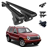 Roof Rack Cross Bars Lockable Luggage Carrier Fits Jeep Liberty 2002-2007 | Aluminum Black Cargo Carrier Rooftop Luggage Bars 2 PCS.