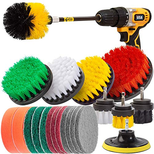 Holikme 22Piece Drill Brush Attachments Set,Scrub Pads & Sponge, Power Scrubber Brush with Extend Long Attachment All purpose Clean for...