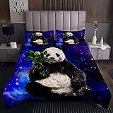 Panda Coverlet Set niños niñas Lindo Animal Galaxacolchado Colcha Colcha de Dibujos Animados Panda Bear Impreso Coverlet de Microfibra Azul Glitter Cielo Estrellado Acolchado de habitación Individual