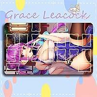 Grace Leacock カードゲームプレイマット 遊戯王 プレイマット hololive ホロライブ 湊 あくあ YouTuber アニメグッズ TCG万能 収納ケース付き アニメ 萌え カード枠あり (60cm * 35cm * 0.3cm)