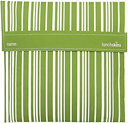 Lunchskins Reusable Quart Bag, Green Vertical Stripe