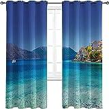 Farm House Decor Bedroom Blackout Curtains, Mediterranean Greek Island Harbor Holiday Hot Coastal Charm Ionian Scenery, 2 Panels per Group W72 x L84 Inch Turquoise