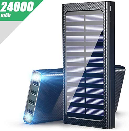 Gnceei Powerbank 24000mAh Externer Akku, 5.8A 4 Ausgängen Tragbare Power Bank mit 3 Eingängen und LED Leuchten für das Smartphones Handys