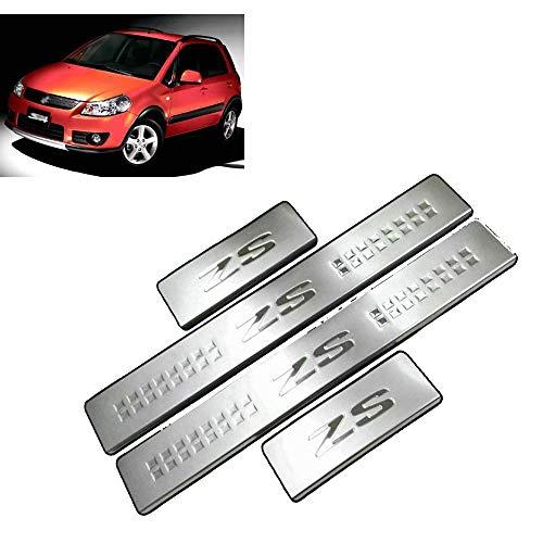 N/A 4 Stück Edelstahl Threshold Bar, Externes Schwellenprofil Tür, Auto Pedale Kick Plates Threshold, Bar Antirutsch-Zubehör, für Suzuki Sx4 2014-2019