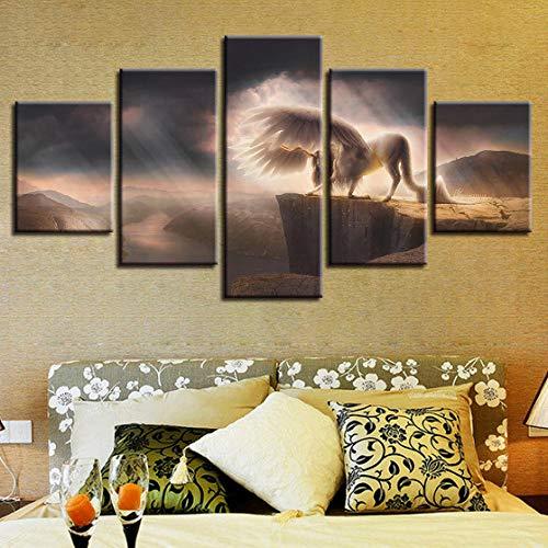 Wodes Lienzo De Pared Art Deco Room Hd Print 5 Piezas Animal Caballo Blanco Con Sus Alas Imagen Montaña Río Paisaje Pintura Modular Marco de madera 30 * 40 * 230 * 60 * 230 * 80Cm