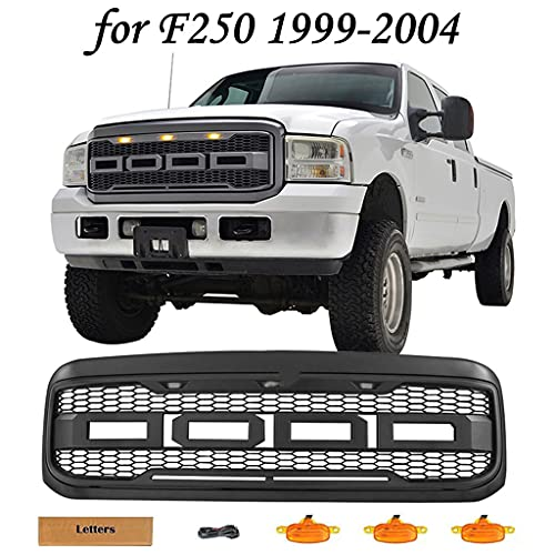 KINTOP Raptor Style Grille Compatible with F250/F250 Super Duty/F350/F350 Super Duty 1999-2004 Grill with Letters & Amber LED Lights, Matte Black (1999-2004 F250/F350 Grille)