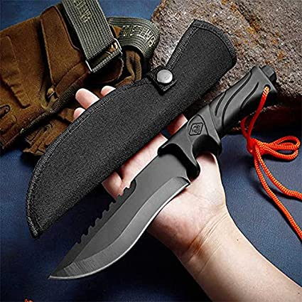 Outdoor Straight Knife Fixed Knife High Hardness Stainless Steel Survival Camping Knife Hunting Knife EDC Knife Universal Knife Portable Knife with Nylon Scabbard
