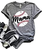 LONBANSTR Women Baseball Mom Mama Letter Print T Shirt Short Sleeve Tops Tee (XX-Large, Gray)