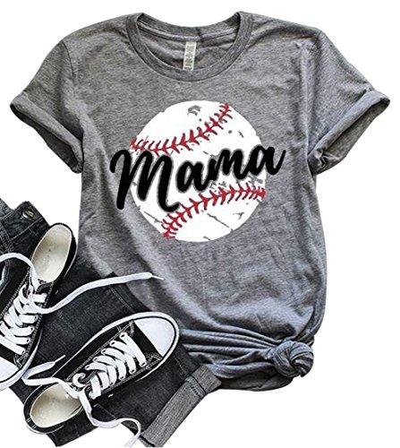 LONBANSTR Women Baseball Mom Mama Letter Print T Shirt Short...