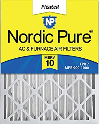 Nordic Pure MERV 10 Pleated AC Furnace Air Filters,