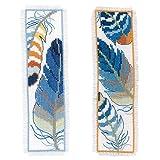Vervaco PN-0170379 Blaue Federn 2er Set Lesezeichen Stickpackung Zählmuster, Baumwolle, mehrfarbig,...