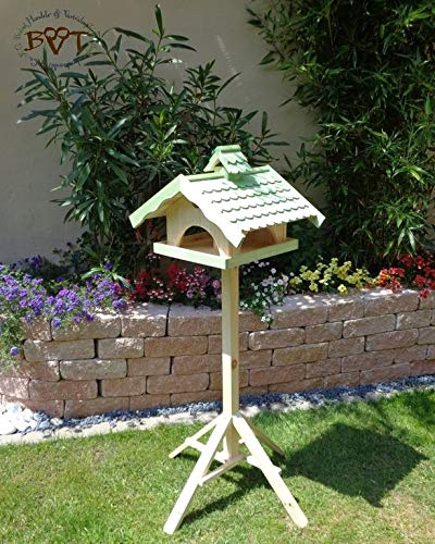 Vogelhaus, groß, BEL-X-VONI5-LOTUS-LEFA-moos002 Großes wetterfestes PREMIUM Vogelhaus mit wasserabweisender LOTUS-BESCHICHTUNG VOGELFUTTERHAUS + Nistkasten 100% KOMBI MIT NISTHILFE für Vögel WETTERFEST, QUALITÄTS-SCHREINERARBEIT-aus 100% Vollholz, Holz Futterhaus für Vögel, MIT FUTTERSCHACHT Futtervorrat, Vogelfutter-Station Farbe grün moosgrün lindgrün natur/grün, MIT TIEFEM WETTERSCHUTZ-DACH für trockenes Futter - 2