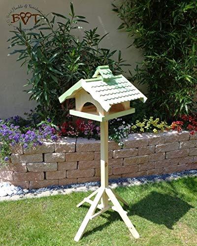 Vogelhaus, groß, BEL-X-VONI5-LOTUS-LEFA-moos002 Großes wetterfestes PREMIUM Vogelhaus mit wasserabweisender LOTUS-BESCHICHTUNG VOGELFUTTERHAUS + Nistkasten 100% KOMBI MIT NISTHILFE für Vögel WETTERFEST, QUALITÄTS-SCHREINERARBEIT-aus 100% Vollholz, Holz Futterhaus für Vögel, MIT FUTTERSCHACHT Futtervorrat, Vogelfutter-Station Farbe grün moosgrün lindgrün natur/grün, MIT TIEFEM WETTERSCHUTZ-DACH für trockenes Futter - 3