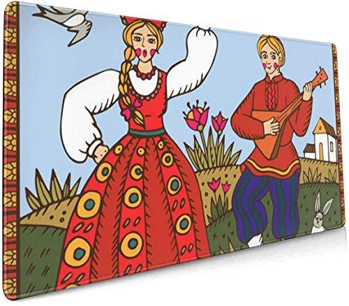 Alfombrilla de ratón multifunción para juegos, base de goma antideslizante, teclado de ordenador para oficina y juegos, tradicional ruso bailando folk hecho para mujer y hombre