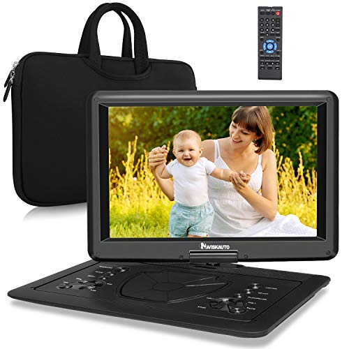"NAVISKAUTO 16"" Tragbarer DVD Player HDMI Eingang HD 1080P 1366*768 6 Stdn. Akku 270°Drehbarer Portabler DVD Player Memory SD USB AV IN/OUT mit Handtasche"