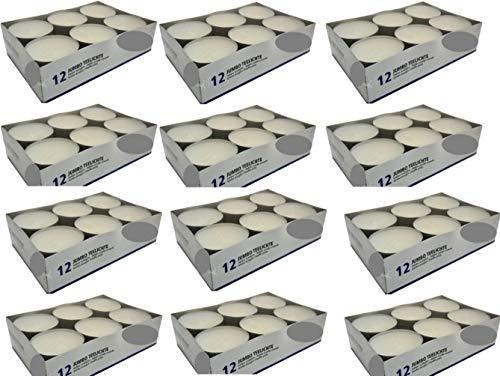 144Maxi lumini in  contenitore di alluminio, maxi luce, lumini Jumbo, senza profumo, candele, lumini, involucro in alluminio, qualità gastronomica, bianco, con marchio di qualità RAL