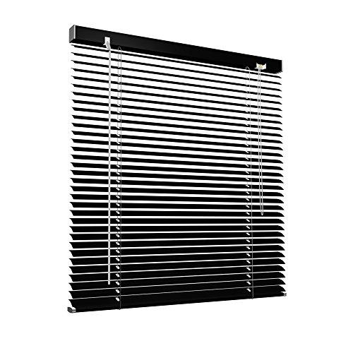 Victoria M. Aluminium Jalousie, 50 x 130 cm, schwarz, Jalousie ohne Bohren, inkl. Klemmclips