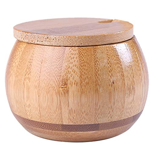 Mengmengda Natural Wooden Salt Box Spice Jar Sugar Bowl Pepper Box Salt Seasoning Container Storage with Lid Kitchen Salt Holder
