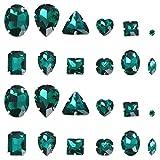 EXCEART Strass di Cristallo Flatback 50 Pezzi Cucire su Cristalli di Strass Cucire su Vetro per Unghie Vestiti Faccia Gioielli (Verde Scuro Stile Misto)