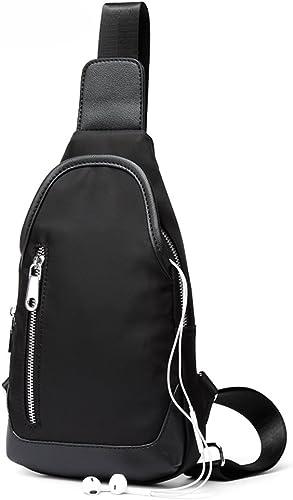 Herren Oxford Brusttasche Pers ichkeit Messenger Tasche Leinwand Umh etasche Mode Rucksack (Farbe   schwarz)