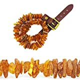 Raw Baltic Amber Pet Collar for Dogs with Adjustable Leather Strap - Natural Pet Prevention and Treatment for Puppy and Cats(17'-19.5')