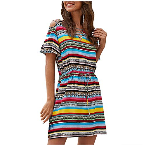 Fashion Women Striped Rainbow Short Sleeve Summer Sundress Drawstring Dress Multicolor S Plus  Size Dresses for Women