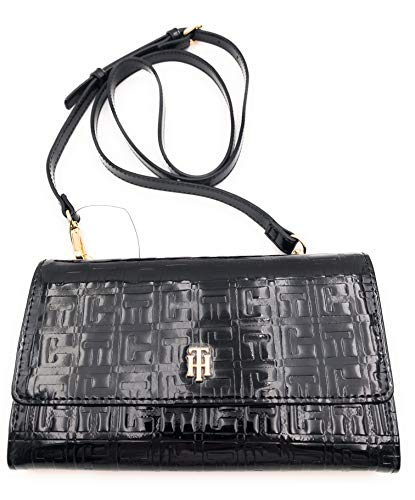 Tommy Hilfiger Wallet on A String TH Square Monogram Debossed Patent PVC Black One Size