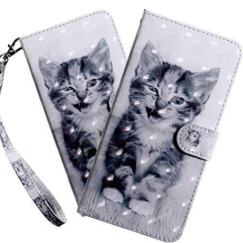 HMTECH Galaxy A20E Hülle,Samsung Galaxy A20E Handyhülle 3D Niedliche kleine Katze Flip Case PU Leder Cover Magnet Schutzhülle Ständer Handytasche für Samsung Galaxy A20E,BX Little Cat