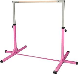 Ainfox Gymnastics Bar, Adjustable Height 3' to 5' Horizontal Kip Bar/Fitness Gymnastics Training Bar for Kids