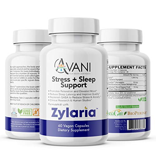 Avani Health – Zylaria™ – Natural Sleep Aid and Adrenal Fatigue Supplement | Stress and Anxiety Relief | No Melatonin | Clinical Studies | Gluten Free | Non GMO 60 | Vegan Capsules