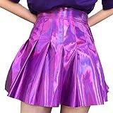 junkai Faldas Plisadas Holográficas Mujeres PU sólido Harajuku Casual Sexy Laser Hight Waist Mini Falda Corta