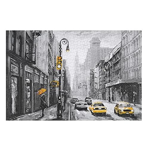 Nueva York Street View Rompecabezas de madera 200/300/500/1000 piezas gran juego de rompecabezas respetuoso con el medio ambiente material para adultos niños adolescentes familia blanco 1000 piezas