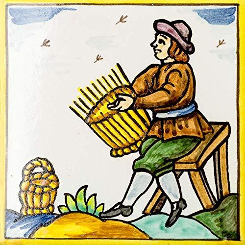 Handbemalte Fliese mit Handwerk des Korbmachers (15x15cm)