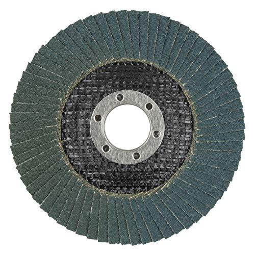 Wolfcraft 5651000 Discos de láminas abrasivas zirconio/corindón grano 60, diámetro 115 x 22,2 mm para amoladora, rectificado basto de superficies metálicas