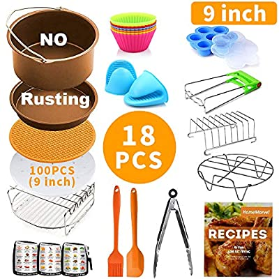 9 inch Air Fryer Accessories XXL for Ninja Gowise Cosori Phillips Cozyna Gourmia Zeny, Set of 18 for 5.5/5.8/6.5 QT with Recipe Cookbook, Rust Proof 9'' Cake Barrel, Pizza Pan, 100pcs Air Fryer Liners, Silicone Cupcake Mold, Baking Cups, Plate Gripper, 3