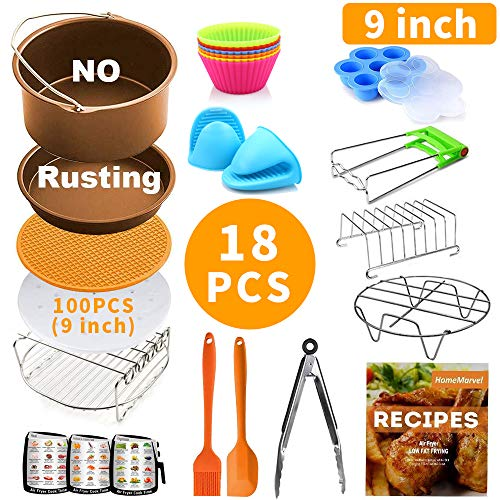 9 inch Air Fryer Accessories XXL for Ninja Gowise Cosori Phillips Cozyna Gourmia Zeny, Set of 18 for 5.5/5.8/6.5 QT with Recipe Cookbook, Rust Proof 9'' Cake Barrel, Pizza Pan, 100pcs Air Fryer Liners, Silicone Cupcake Mold, Baking Cups, Plate Gripper, 3 Magnetic Cheat Sheets