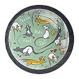 Fancy Ratte Tier-Glasknauf und Zuggriff für Kommode, Kommode, Kleiderschrank, Badezimmer, Küche, Schränke, 4 Stück